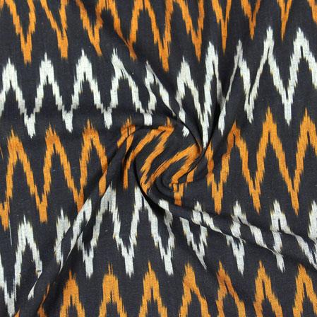 Black White and Yellow Ikat Cotton Fabric-11076