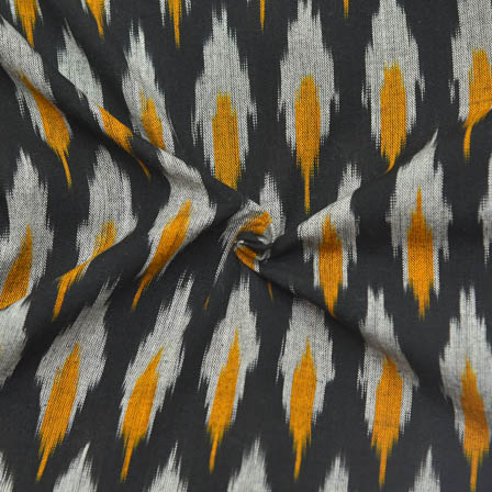 Black-White and Yellow Unique Design Ikat Fabric-12017