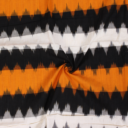 Black-White and Yellow Zig Zag Design Ikat Fabric-12061