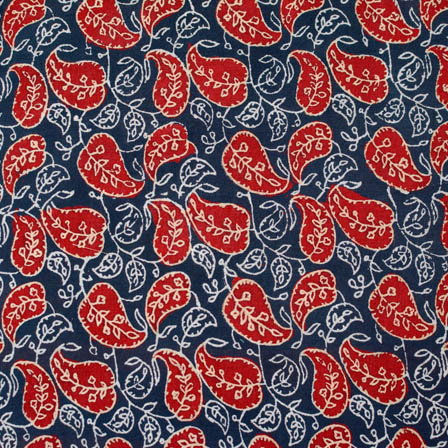 Black-Whtie and Red Ajrakh Flower Cotton Fabric-4202