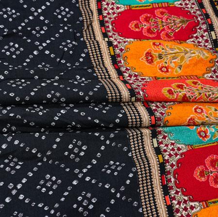 Black Yellow Flower Cotton Print Fabric-28360