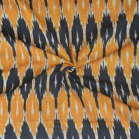 Black Yellow Ikat Cotton Fabric-12268