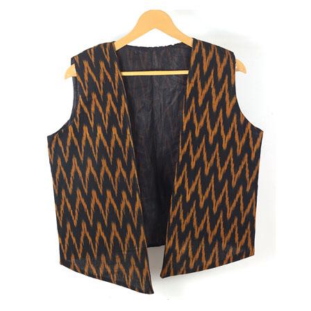 Black Yellow Sleeveless Ikat Cotton koti jacket-12250