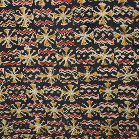 Black Yellow and Beige Unique Pattern Kalamkari Cotton Fabric