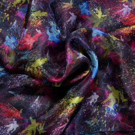Black Yellow and Blue Sparrow Organza Digital Silk Fabric-22430