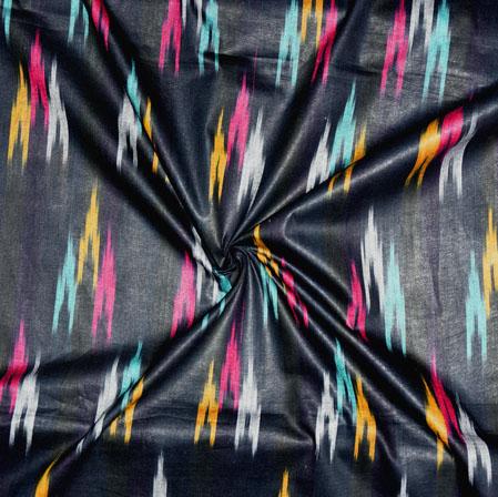 Black Yellow and Cyan Ikat Cotton Fabric-11147