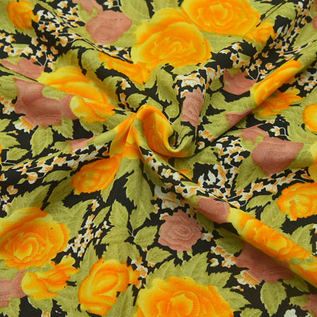 Black-Yellow and Green Flower Design Crepe Fabric-18056