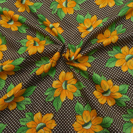 Black-Yellow and Green Flower Design Crepe Fabric-18058