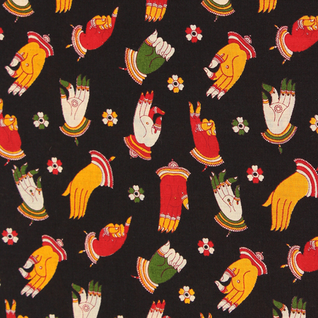 Black-Yellow and Green Hand Mudra Design Kalamkari Cotton Fabric-10047