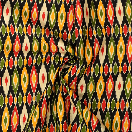 Black-Yellow and Green Ikat Print Kalamkari Cotton Fabric-10086