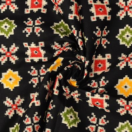 Black-Yellow and Green Kalamkari Cotton Fabric-10093