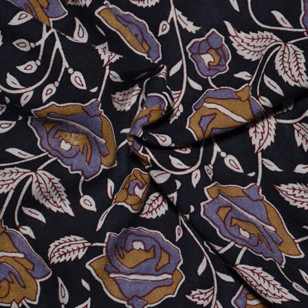 Black-Yellow and Purple Floral Pattern Kalamkari Rayon Fabric-15021
