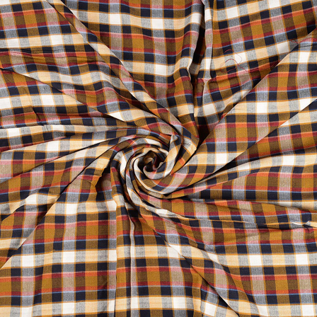 Black-Yellow and White Checks Rayon Shirt Fabric-40239