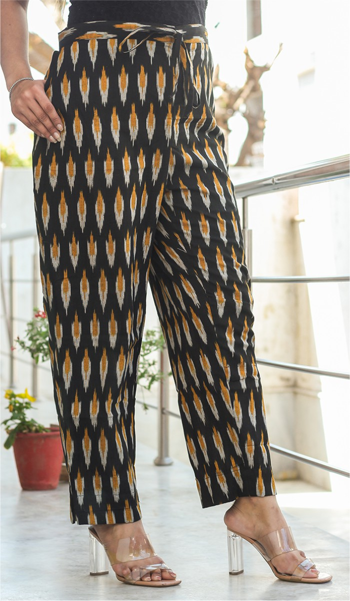 Black Yellow and White Cotton Ikat Ankle Women Pant-34664