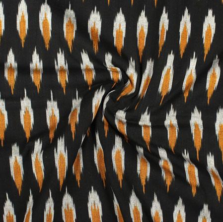 Black Yellow and White Ikat Cotton Fabric-11028