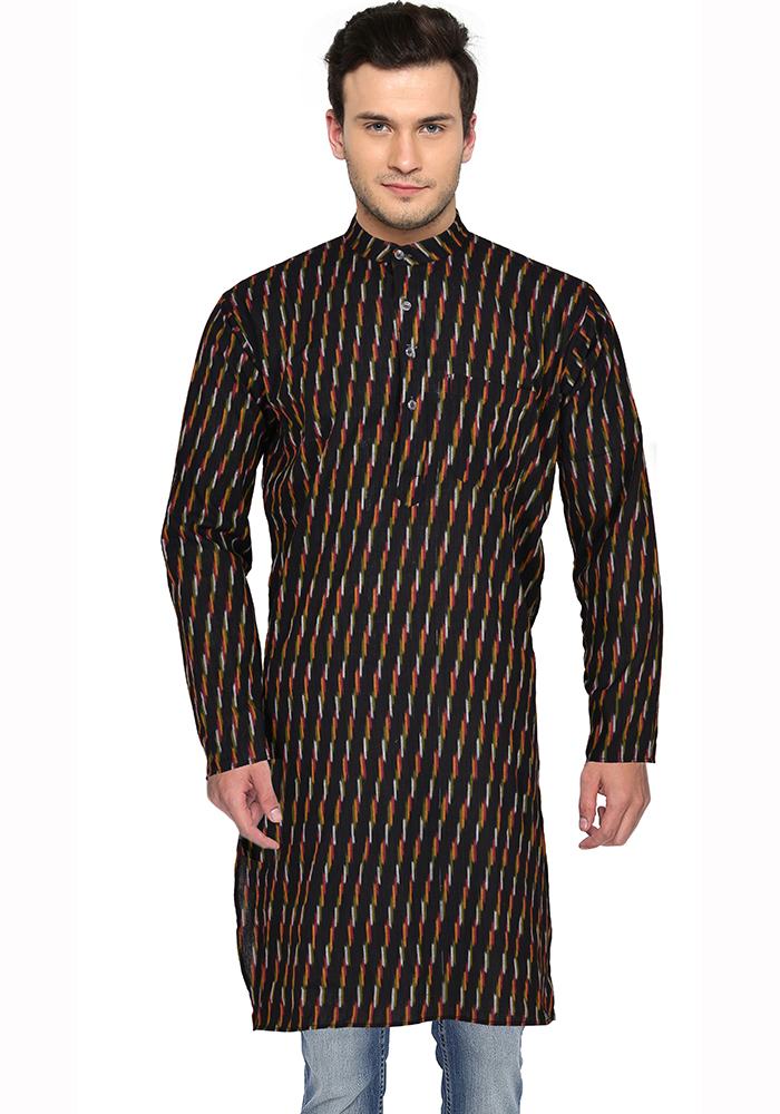 Black Yellow and White Ikat Cotton Khadi Long Kurta-33169