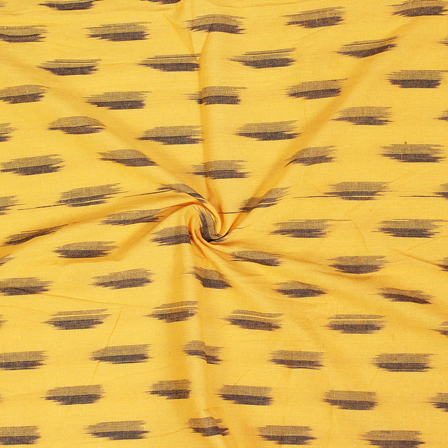 Black Zig Zag Design On Yellow Ikat Fabric-12059