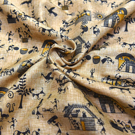 Black and Yellow Warli Design On Cream Kalamkari Manipuri Silk-16089