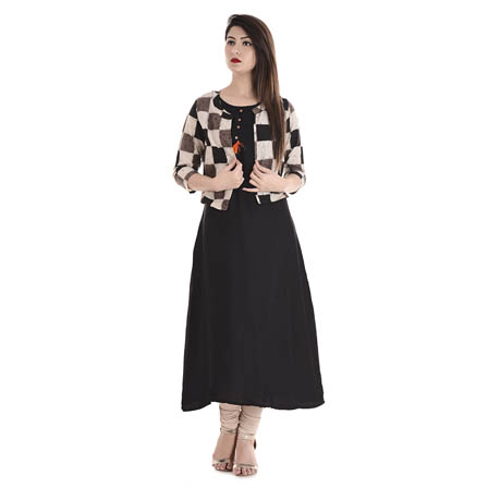Black and Beige 3/4 Sleeve Cotton Jacket With Cut Sleeve Rayon Kurti-3108