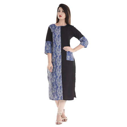 Black and Blue 3/4 Sleeve Half Printed and Solid Cotton Kurti-3106