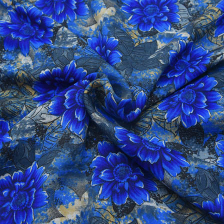 Black and Blue Floral Design Crepe Fabric-18066