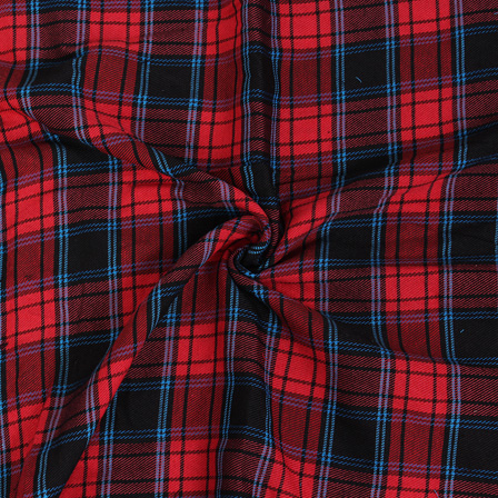 Black and Blue Twill Checks On Red Handloom Cotton Khadi Fabric-40056