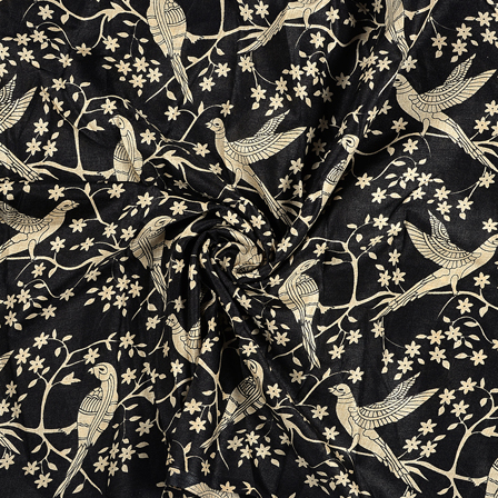 Black and Cream Bird Design Kalamkari Manipuri Silk Fabric-16231