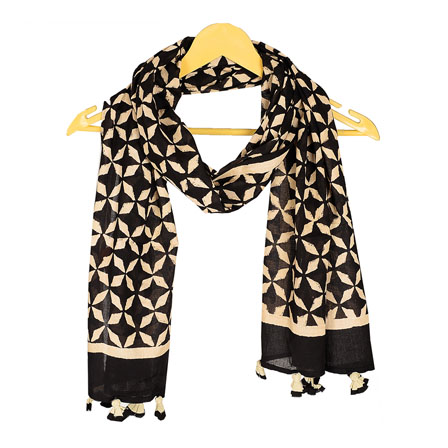 Black and Cream Block Print Cotton Dupatta With Pom Pom-33057