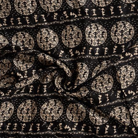 Black and Cream Circular Kalamkari Manipuri Silk Fabric-16341