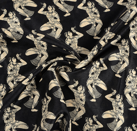 Black and Cream Dancing Mudra Pattern Kalamkari Manipuri Silk Fabric-16229
