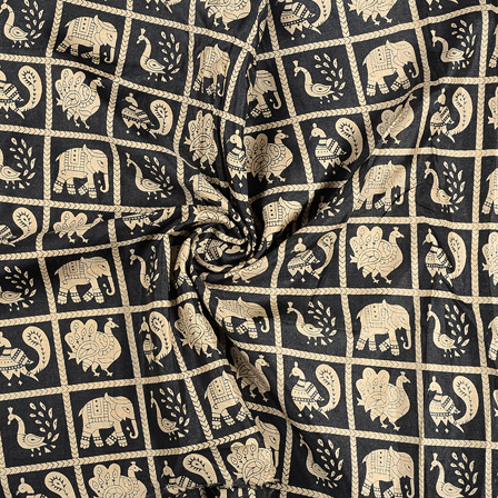 Black and Cream Elephant Design Kalamkari Manipuri Silk Fabric-16232