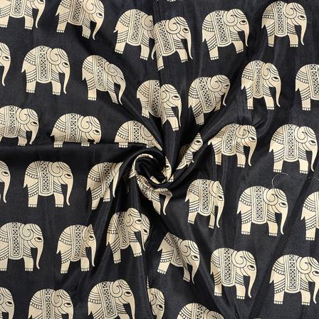 Black and Cream Elephant Design Kalamkari Manipuri Silk Fabric-16233