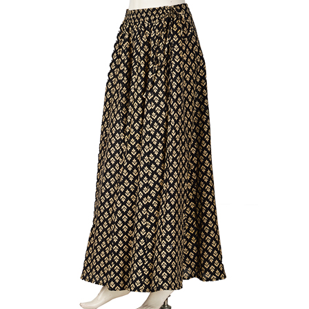 Black and Cream Floral Design  Block Print Cotton Long Skirt-23048