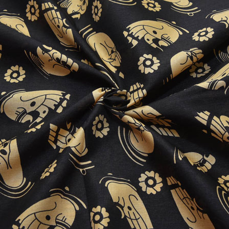 Black and Cream Hand Mudra Design Kalamkari Manipuri Silk-16084