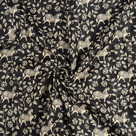 Black and Cream Horse Design Kalamkari Manipuri Silk Fabric-16238