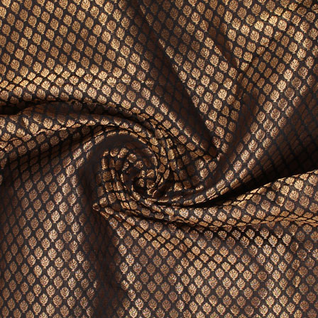 Black and Golden Floral Brocade Silk Fabric-8914