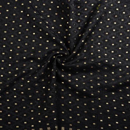 Black and Golden Brocade Silk Fabric-8637