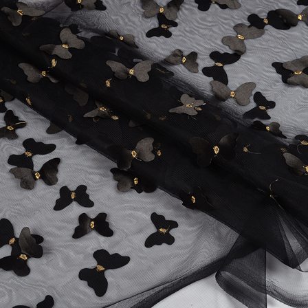 Black and Golden Butterfly Embroidery Net Fabric -60770