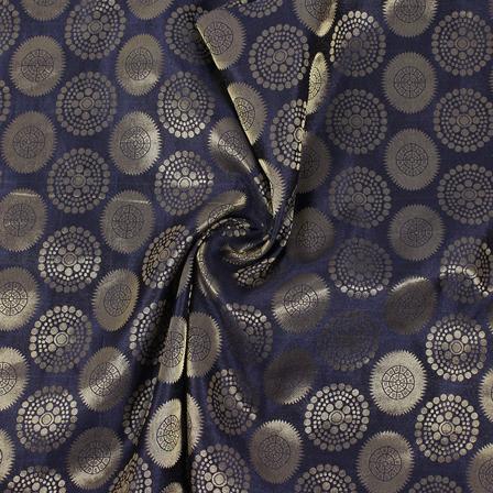 Black and Golden Circular Brocade Silk Fabric-8859