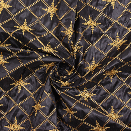 Black and Golden Embroidery Silk Fabric-60906