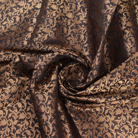 Black and Golden Floral Brocade Silk Fabric-8911