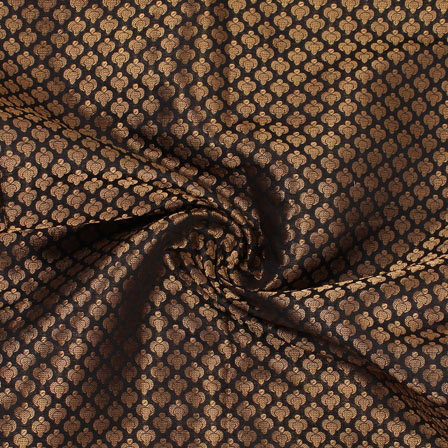Black and Golden Floral Brocade Silk Fabric-8941