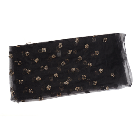 Black and Golden Floral Embroidery Net Fabric-60501