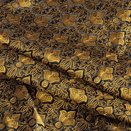 Black and Golden Floral Kinkhab Banarasi Brocade Fabric-8508