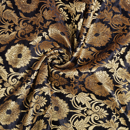 Black and Golden Floral Kinkhab Banarasi Brocade Fabric-8513