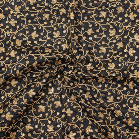 Black and Golden Floral Pattern Silk Embroidery Fabric-60114