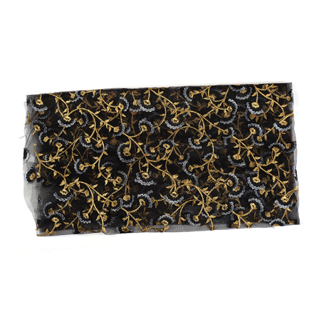 Black and Golden Floral With Leaf Embroidery Net Fabric-60533