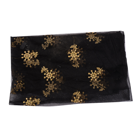 Black and Golden Floral With Leaf Net Embroidery Fabric-60532