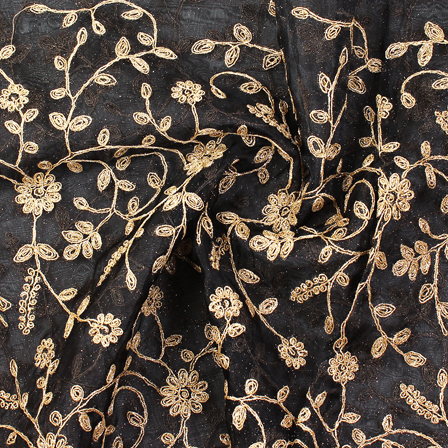 Black and Golden Flower Embroidery Silk Organza Fabric-50035