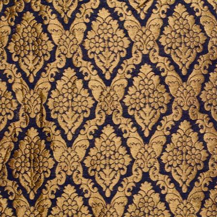 Black and Golden Heavy Zari Work Brocade Silk Fabric by the yard
